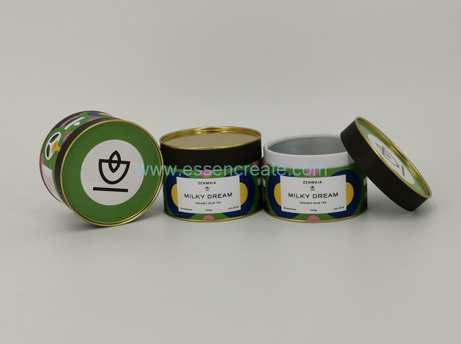 Green Tea Packing Cylinder Box With Tinplate Top