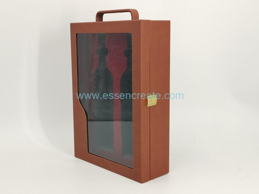 Two Wines Bottle Packing Leather Box