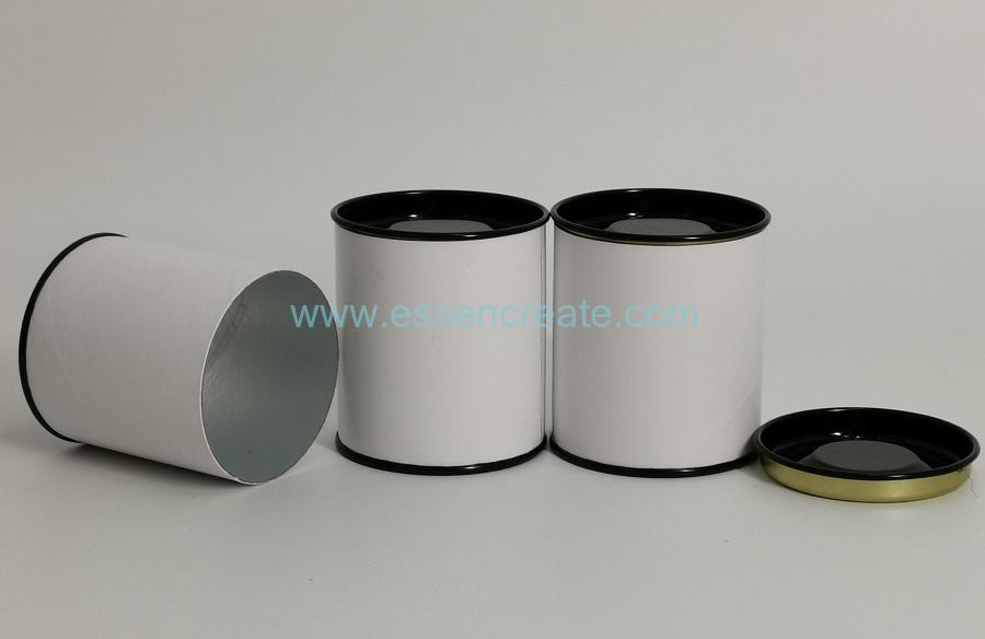 Composite White Paper Cans with Black Metal Lids