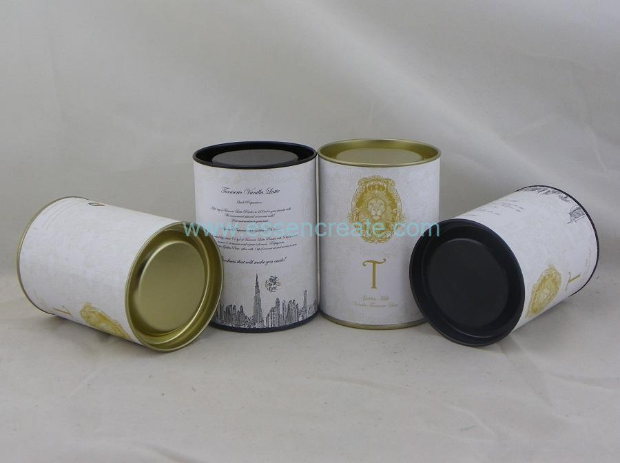 Chocolate Packaging Composite Paper Canister with Tin Lid