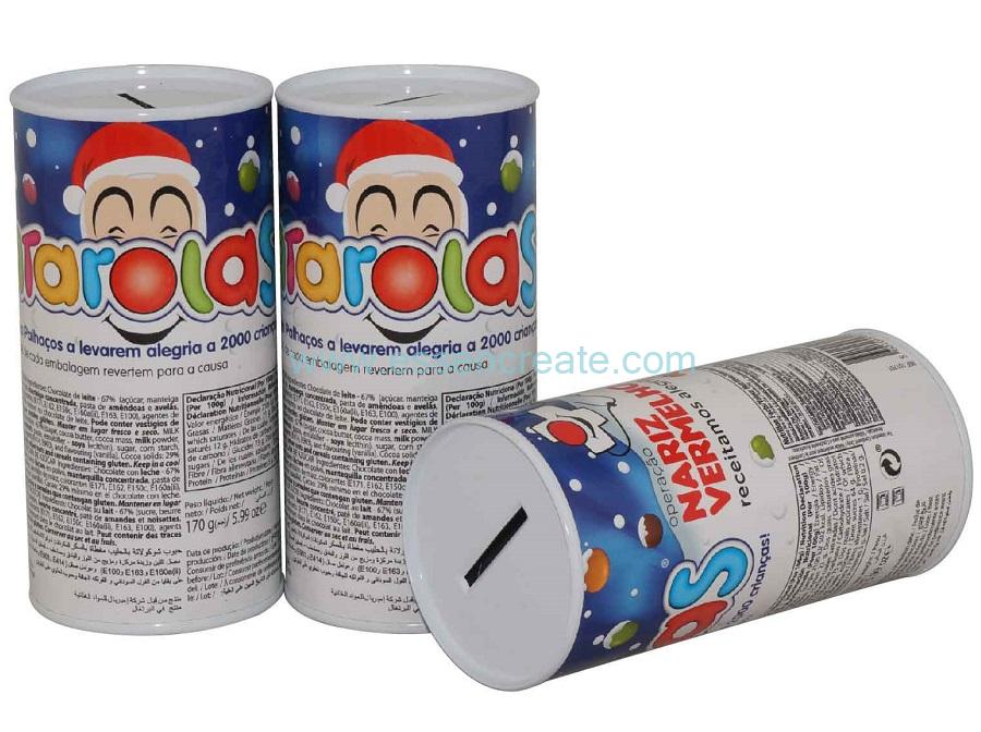 Cylinder Cardboard Packaging Paper Tube with Coin Slot