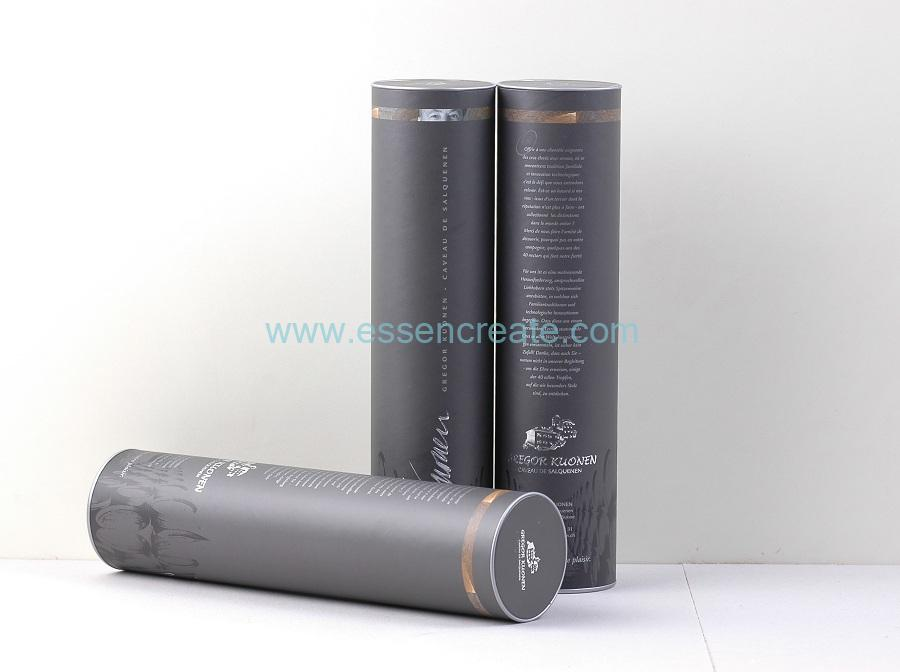 Swiss Wine Packaging Paper Tube with Tinplate Top
