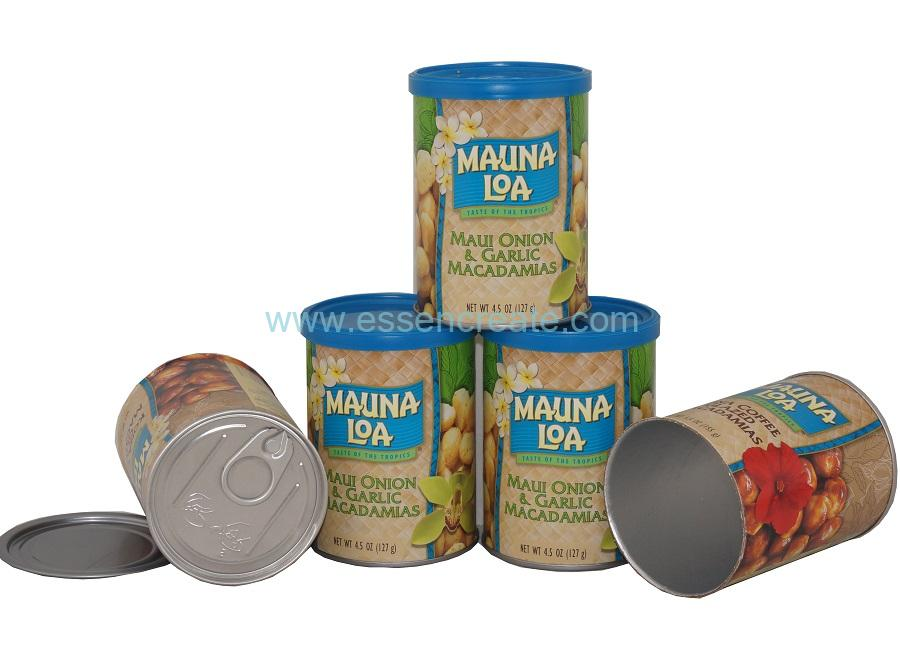 Paper Macadamia Nuts Packaging Tube with Al EOE Top Cap