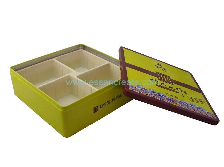 Plastic Tray Tea Packaging Two Pieces Metal Tin Box